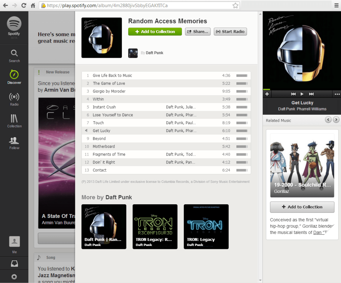 Early version of Spotify's web player